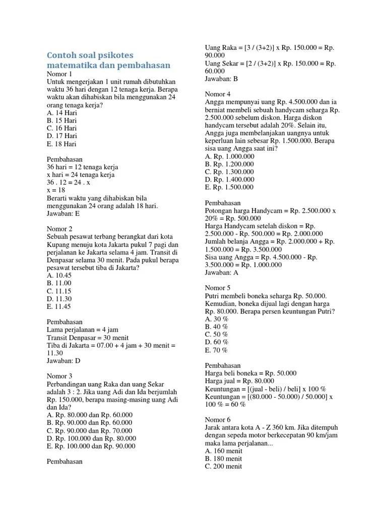 03/02/2018· contoh soal matematika dasar tes kerja nomor 7. Contoh Soal Psikotes Matematika Dan Pembahasan Pdf