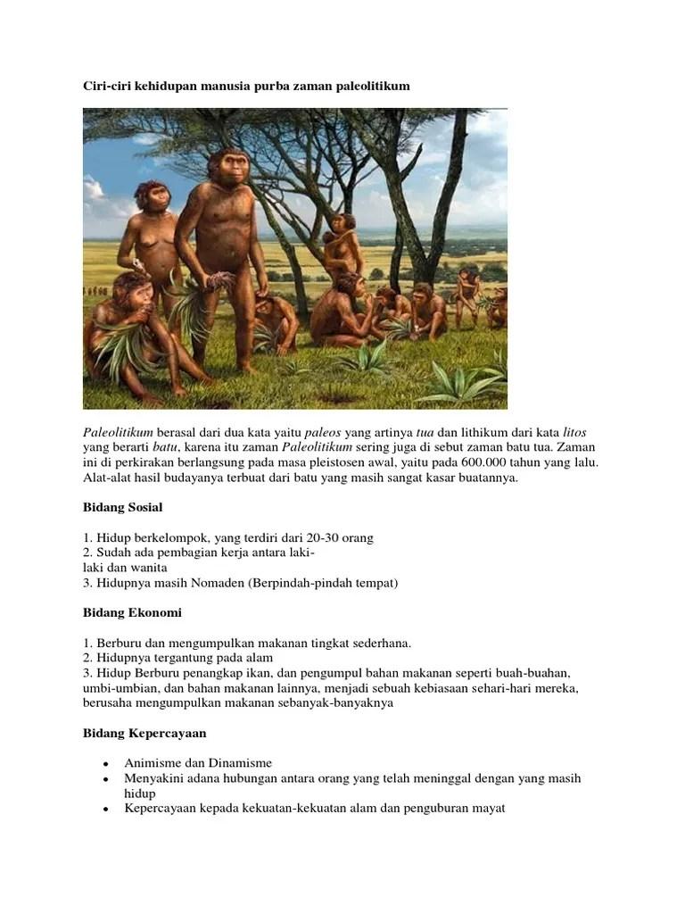 Ciri Ciri Kehidupan Manusia Pada Zaman Paleolitikum : kehidupan, manusia, zaman, paleolitikum, Kehidupan, Zaman