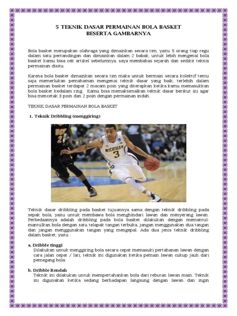 3 Teknik Dasar Bola Basket : teknik, dasar, basket, Teknik, Dasar, Permainan, Basket, Beserta, Gambarnya