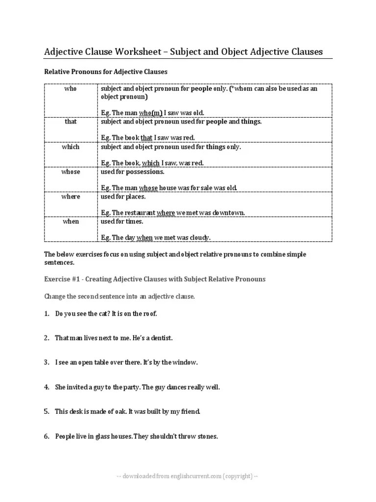medium resolution of adjective-clause-worksheet-esl (1).docx   Pronoun   Clause