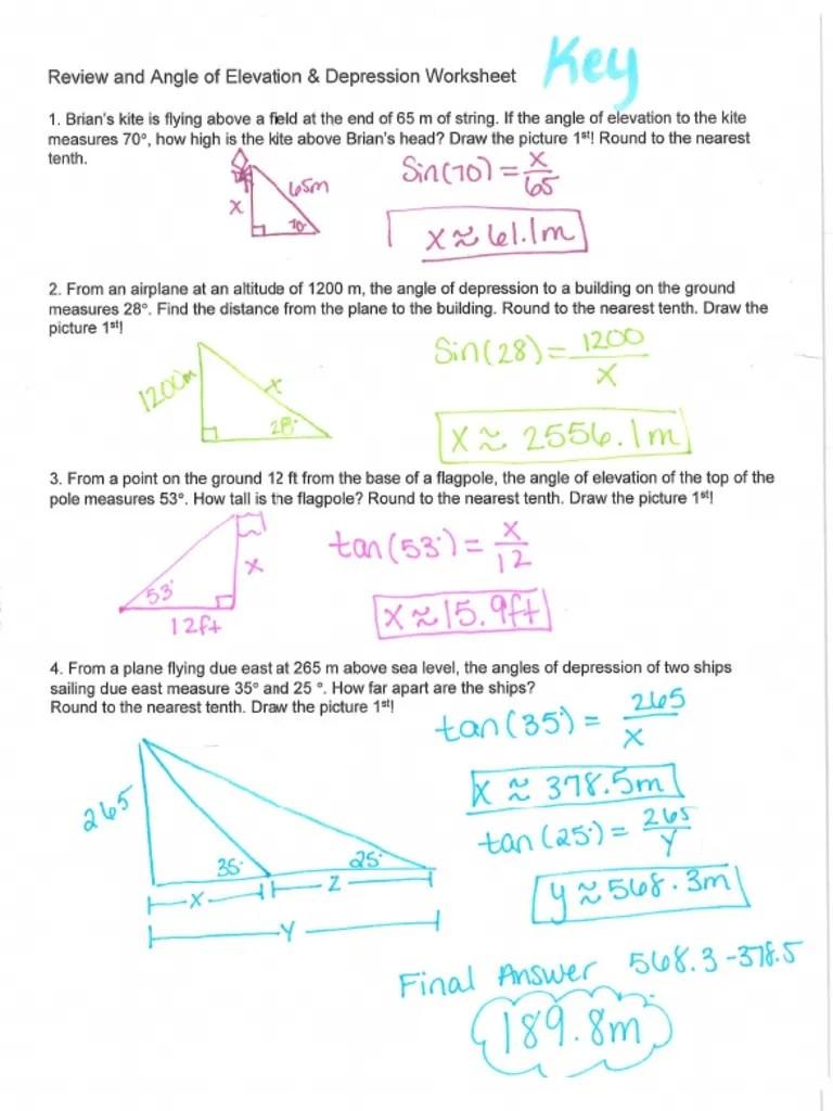 Angle Of Elevation And Depression Worksheet Answers With Work : angle, elevation, depression, worksheet, answers, Review, Angle, Elevation, Depression, Worksheet