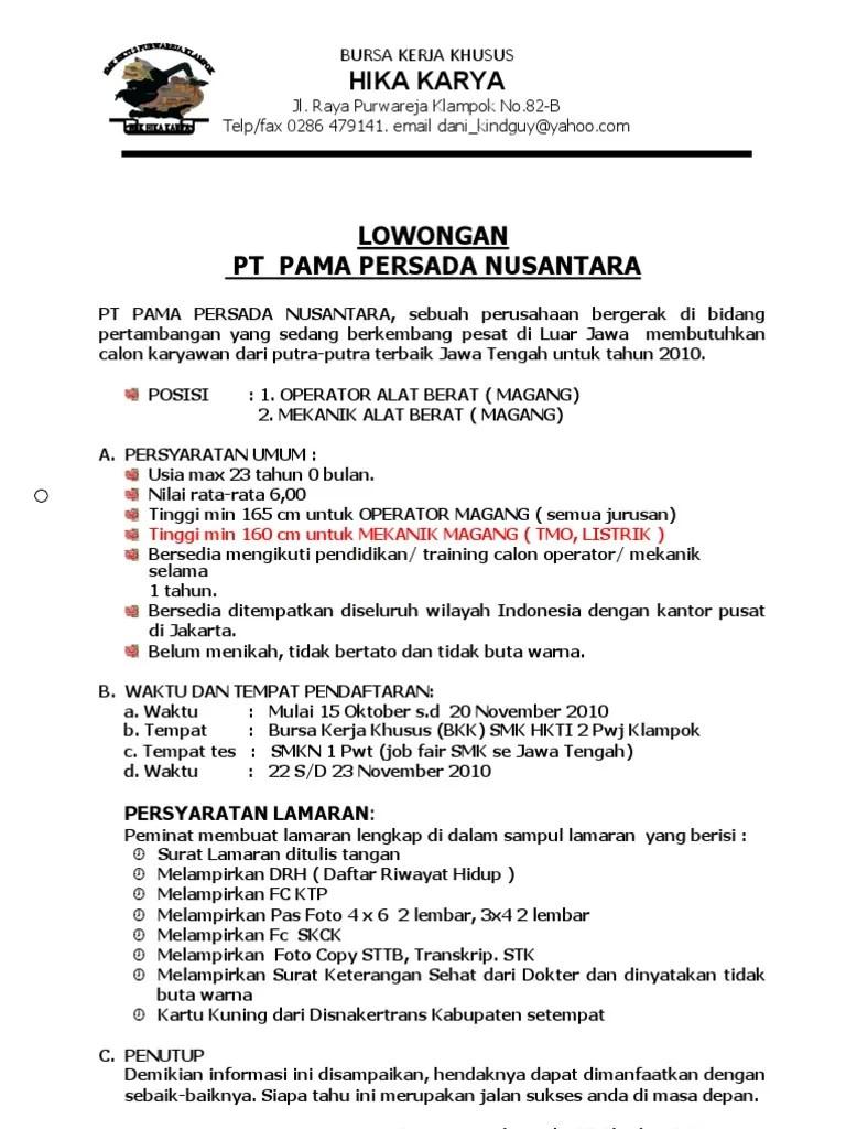 Contoh Surat Lamaran Kerja Pt Pama Persada Nusantara Dapatkan Contoh Cute766