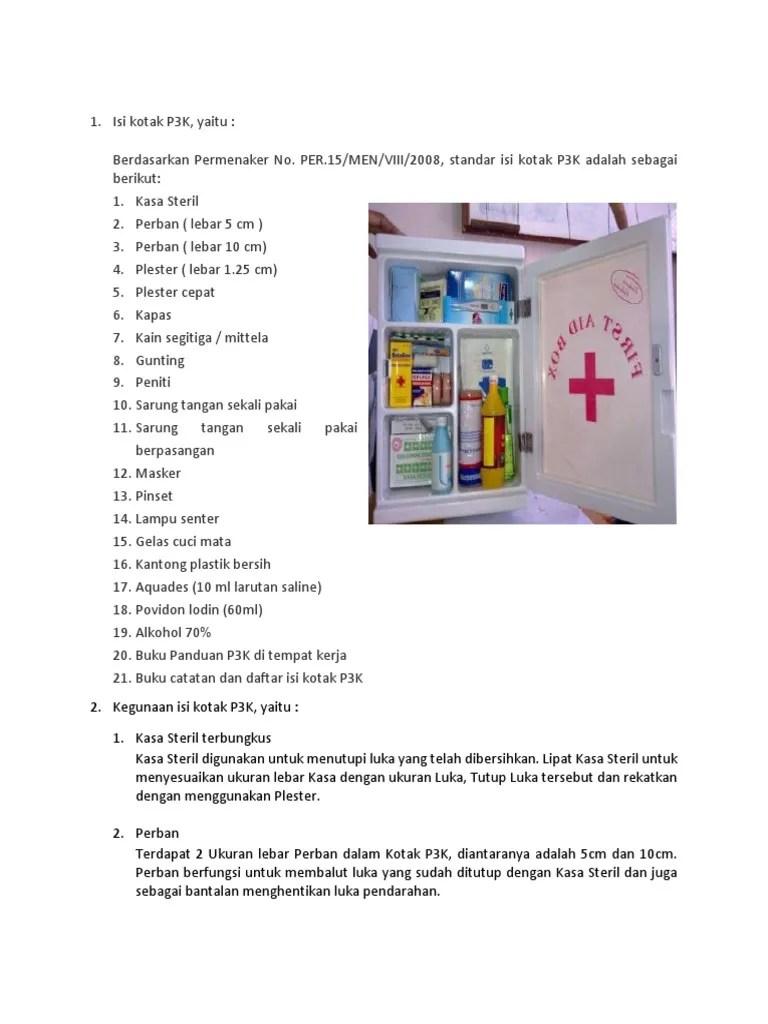 Luka Pendarahan Ditutup Dengan Kasa Steril Supaya : pendarahan, ditutup, dengan, steril, supaya, Kegunaan, Kotak, P3K.docx