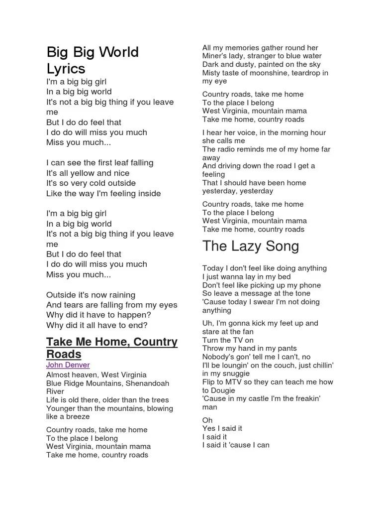 Baby You Know Big Mama Lyrics : lyrics, World, Lyrics.docx, Leisure