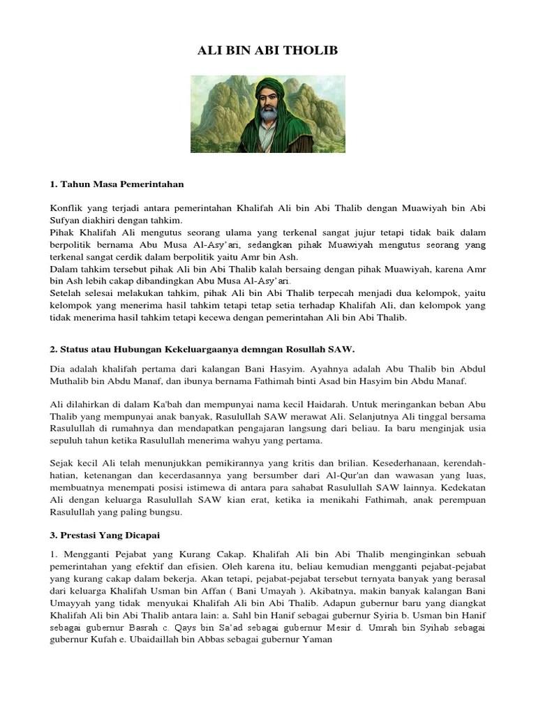 Prestasi Ali Bin Abi Thalib : prestasi, thalib, THOLIB.docx