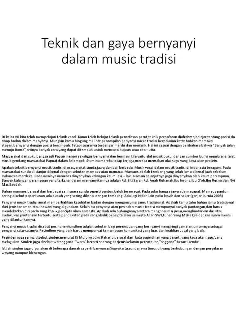 Teknik Dan Gaya Bernyanyi Dalam Musik Tradisi : teknik, bernyanyi, dalam, musik, tradisi, Teknik, Bernyanyi, Dalam, Music, Tradisi