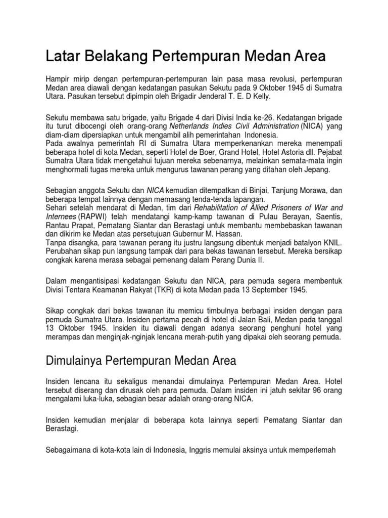 Pertempuran Medan Area by Kamilah Dinannisa | Latar Belakang