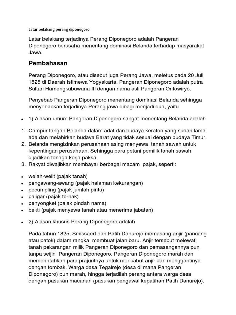 Sebab Umum Dan Khusus Perang Diponegoro : sebab, khusus, perang, diponegoro, Latar, Belakang, Perang, Diponegoro
