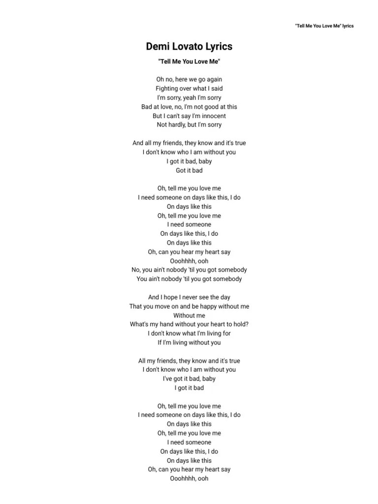 Baby Baby Say That You Love Me Lyrics : lyrics, Lovato, Lyrics, AZLyrics.com, Recorded, Music, Albums
