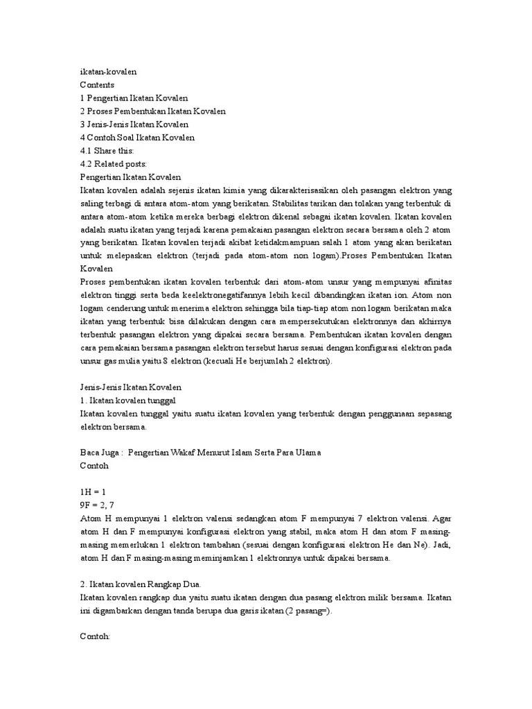 Pengertian Ikatan Kovalen : pengertian, ikatan, kovalen, Ikatan, Kovalen