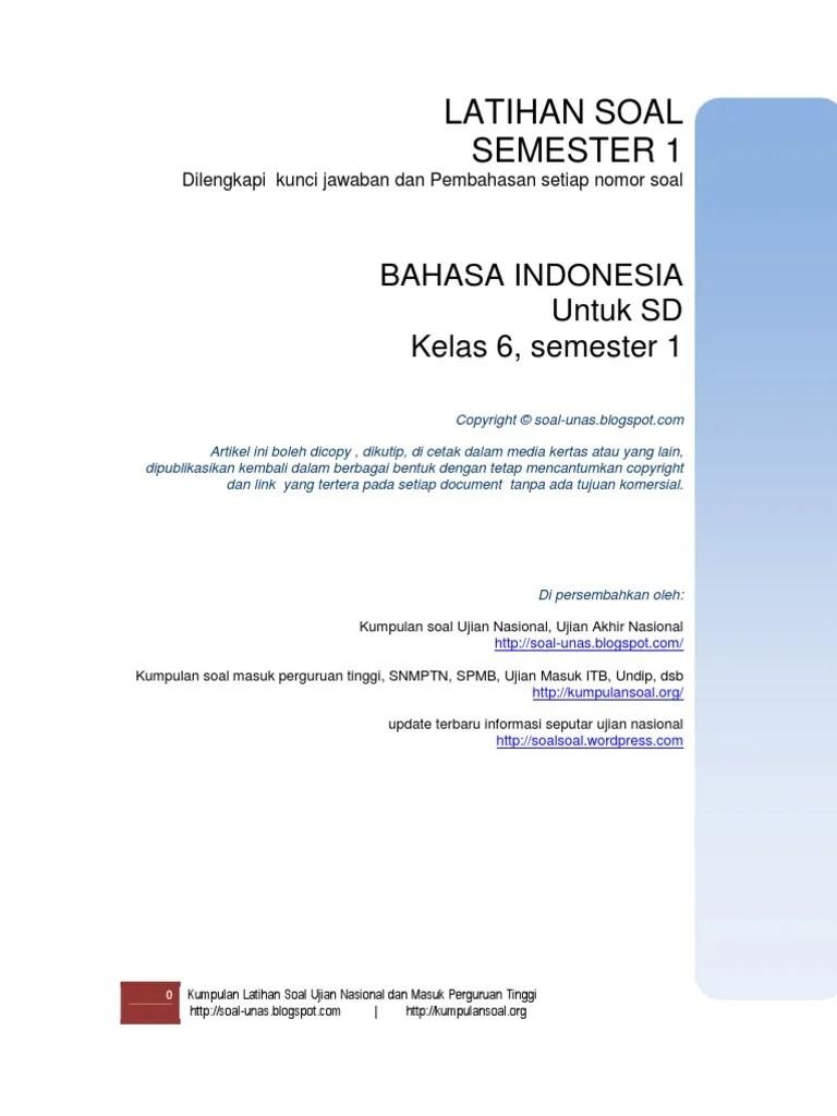 Soal Bahasa Indonesia Kelas 6 Semester 1 Bab 1 : bahasa, indonesia, kelas, semester, Semester1, Bahasa, Indonesia