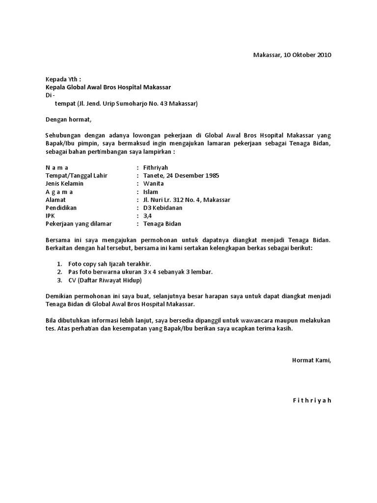 Contoh surat lamaran kerja perawat di rumah sakit ini bisa anda tiru karena sudah baik dan benar format nya. Contoh Surat Lamaran Ke Rumah Sakit