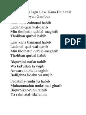 Law Kana Lirik : lirik, Lirik, Sholawat, Bainanal, Habib