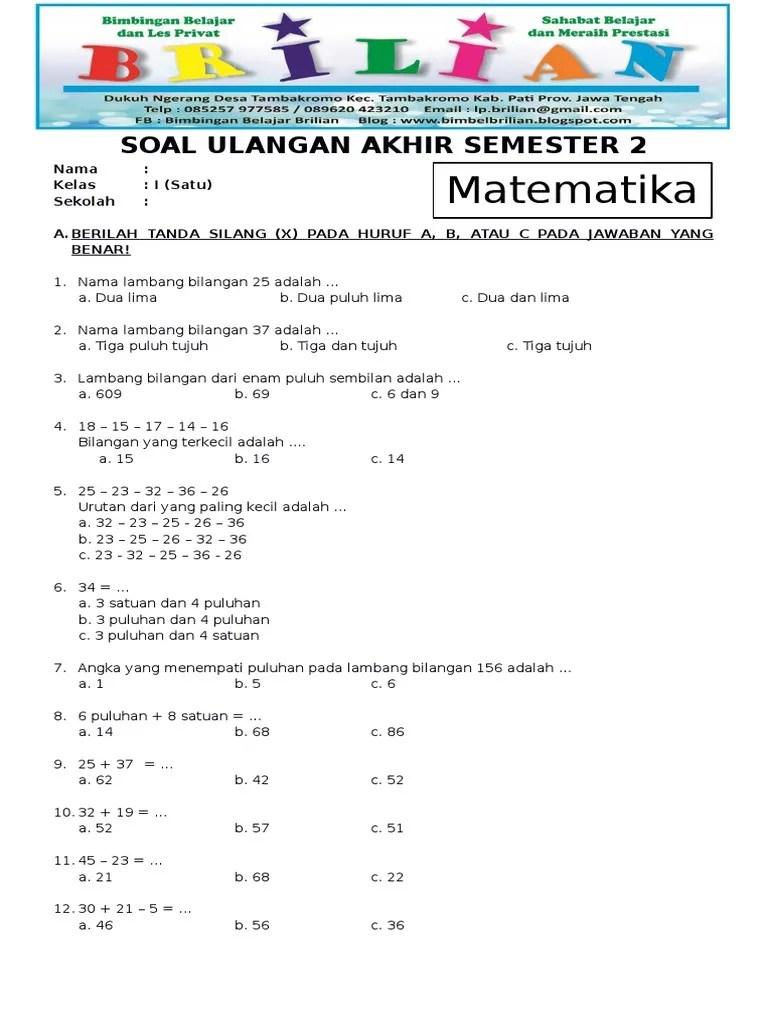 Soal Kelas 1 Sd Matematika : kelas, matematika, Matematika, Kelas, Semester, Kunci, Jawaban, (www.bimbelbrilian.com).pdf