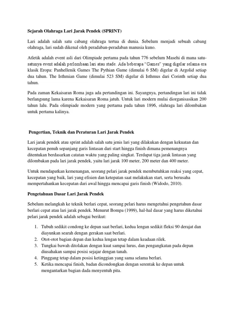 Sejarah Atletik Lari Jarak Pendek : sejarah, atletik, jarak, pendek, Sejarah, Olahraga, Jarak, Pendek.docx