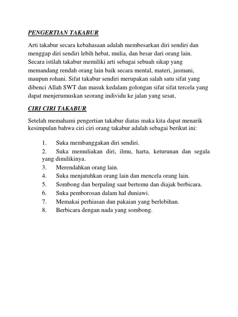 apa arti dan contoh TAKABUR?   Yahoo Answers
