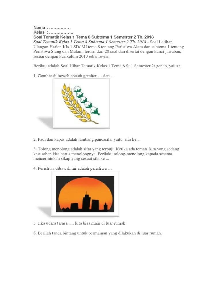 Soal Tematik Kelas 1 Tema 8 : tematik, kelas
