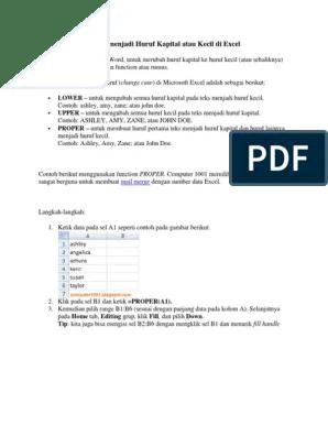 Cara Merubah Huruf Kecil Ke Huruf Besar Di Excel : merubah, huruf, kecil, besar, excel, Merubah, Huruf, Menjadi, Kapital, Kecil, Excel