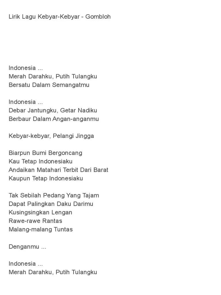 Lagu Indonesia Merah Darahku Putih Tulangku : indonesia, merah, darahku, putih, tulangku, Lirik, Kebyar-Kebyar, Gombloh.doc