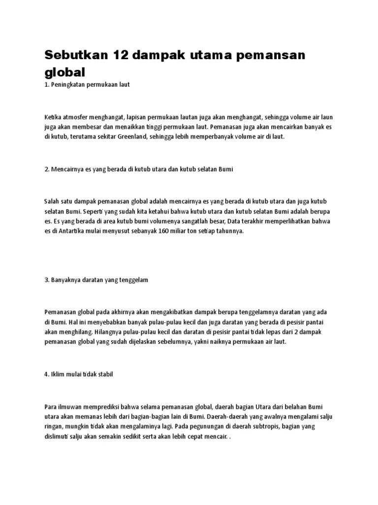 Sebutkan Beberapa Dampak Dari Pemanasan Global : sebutkan, beberapa, dampak, pemanasan, global, Sebutkan, Dampak, Utama, Pemansan, Global