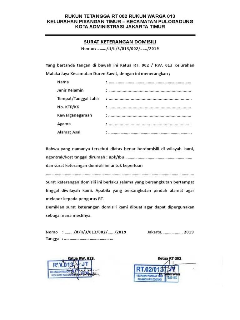 Contoh Surat Domisili Rt : contoh, surat, domisili, Surat, Keterangan, Domisili, Jakarta, Timur