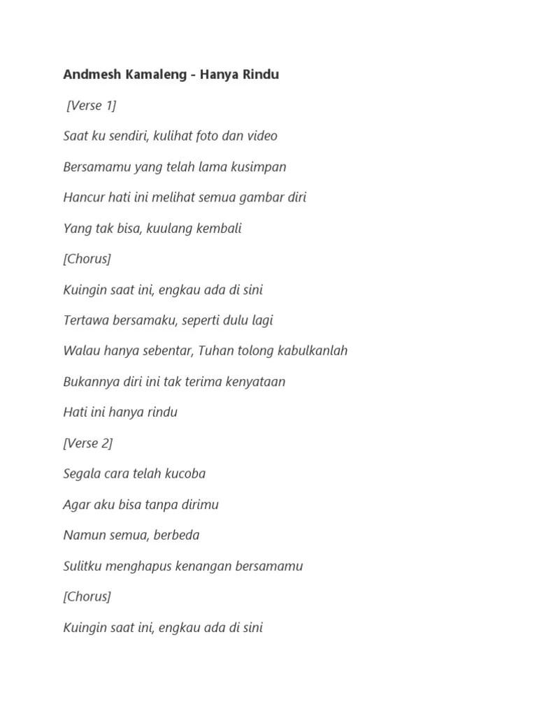Lagu Andmesh Hanya Rindu : andmesh, hanya, rindu, LIRIK, Andmesh, Kamaleng