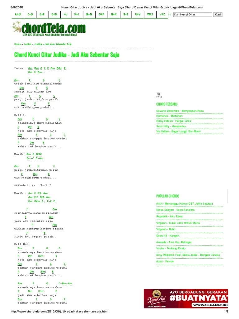 Lirik Judika Jadi Aku Sebentar Saja : lirik, judika, sebentar, Kunci, Gitar, Judika, Sebentar, Chord, Dasar, Lirik, ©ChordTela.com.pdf