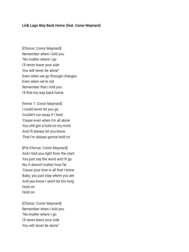 Lirik Lagu Barat [PartTwo] - Way Back Home - SHAUN feat