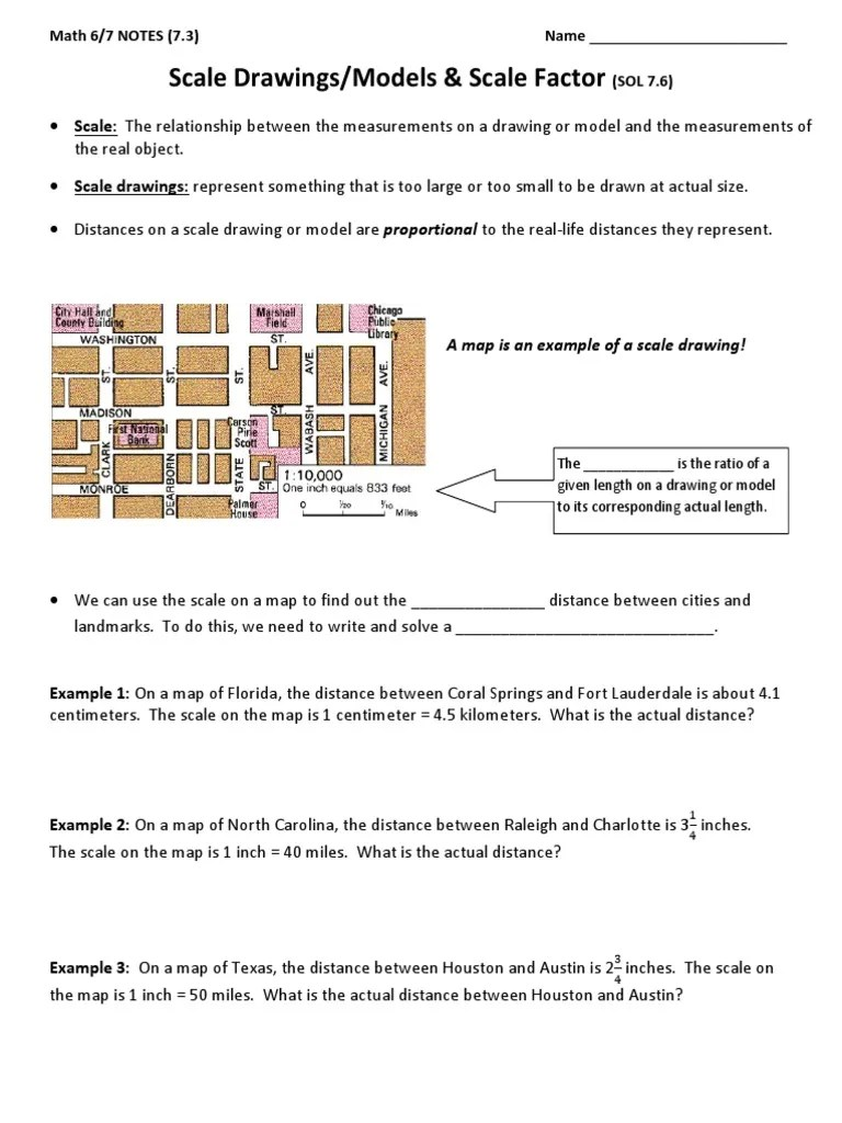 small resolution of 7.3 NOTES n HW - Scale Drawings Models n Scale Factor   Foot (Unit)   Map