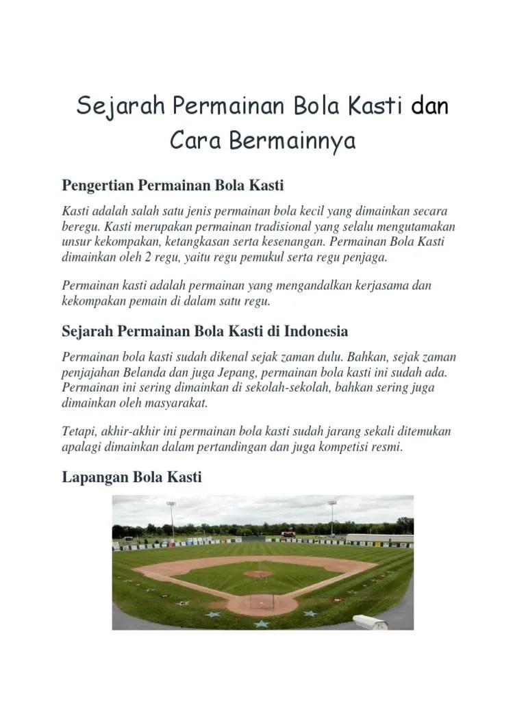 Pengertian Permainan Baseball : pengertian, permainan, baseball, Sejarah, Permainan, Kasti, Bermainnya
