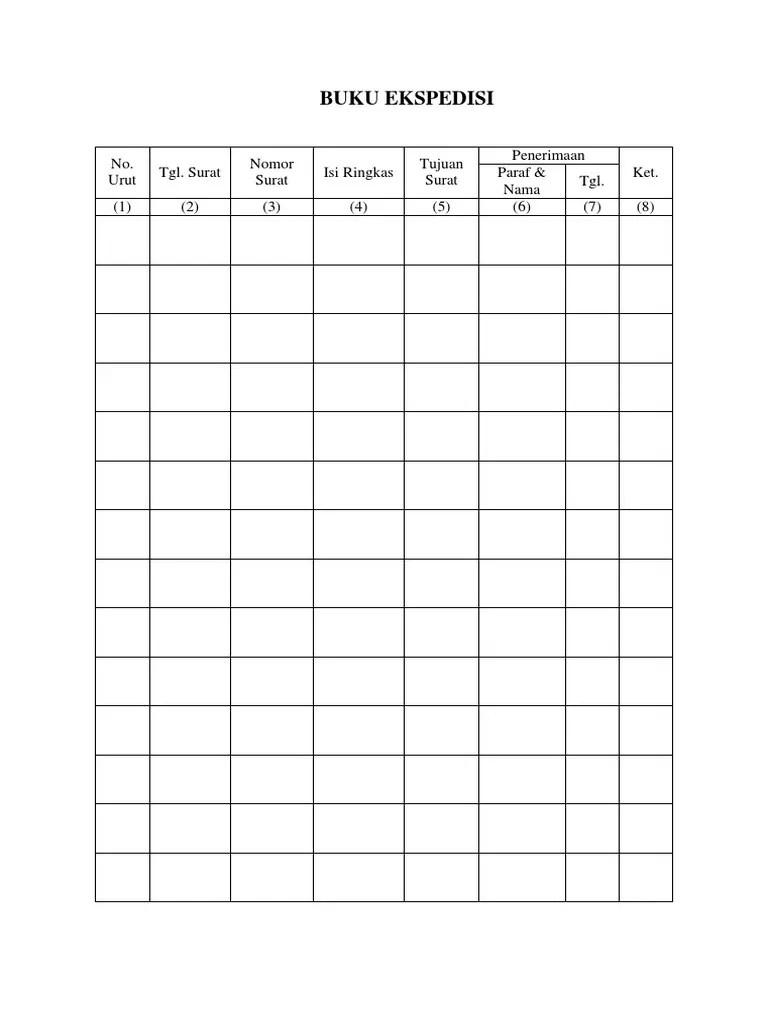 Contoh Format Buku Ekspedisi Surat - Mie Games