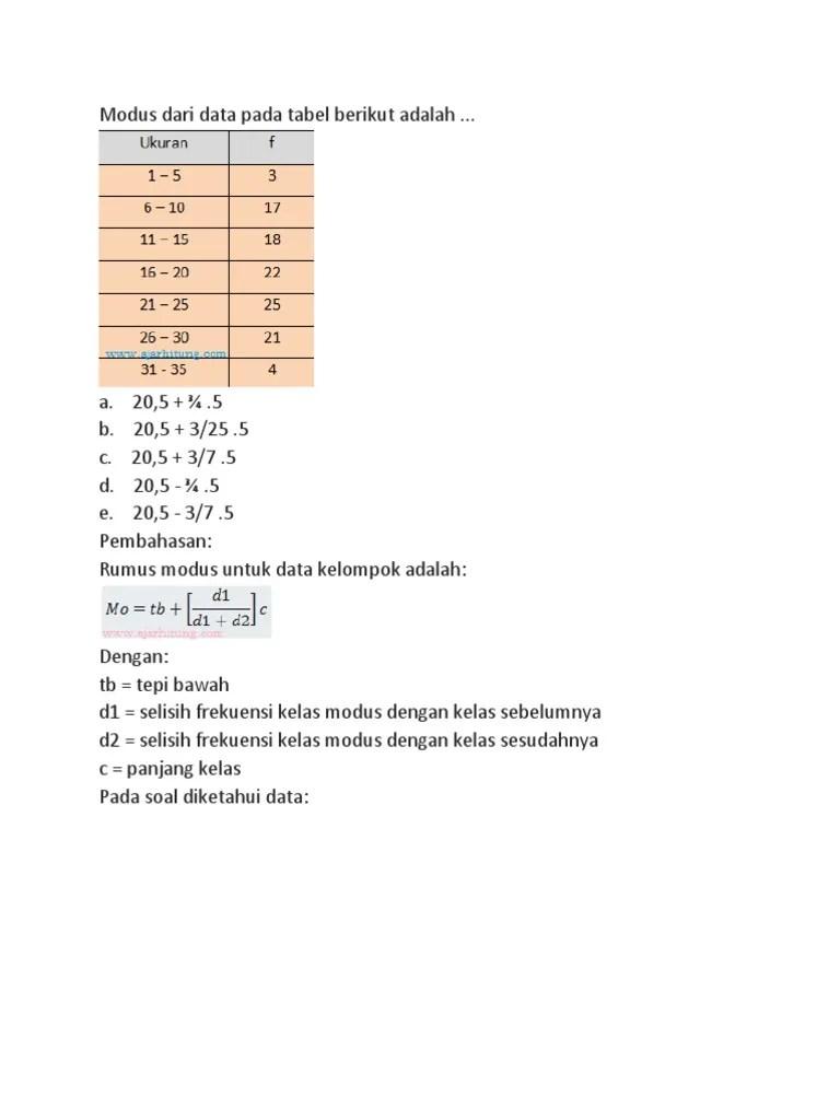 Modus Dari Data Pada Tabel Berikut Adalah : modus, tabel, berikut, adalah, Https