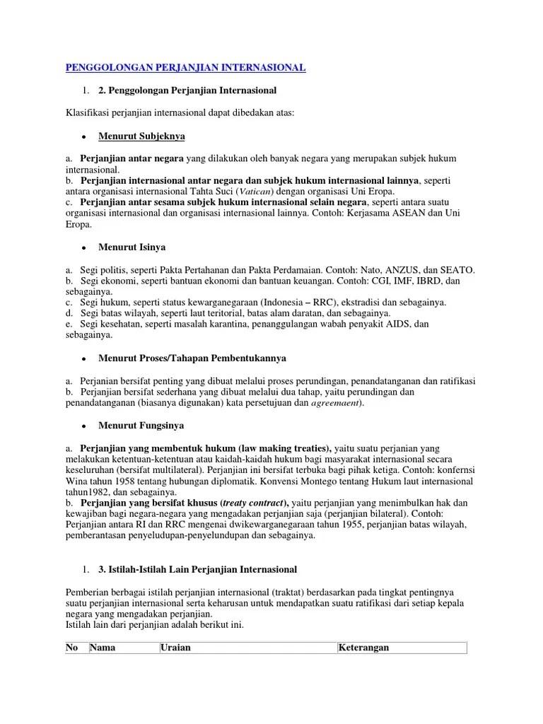 Klasifikasi Perjanjian Internasional : klasifikasi, perjanjian, internasional, PENGGOLONGAN, PERJANJIAN, INTERNASIONAL