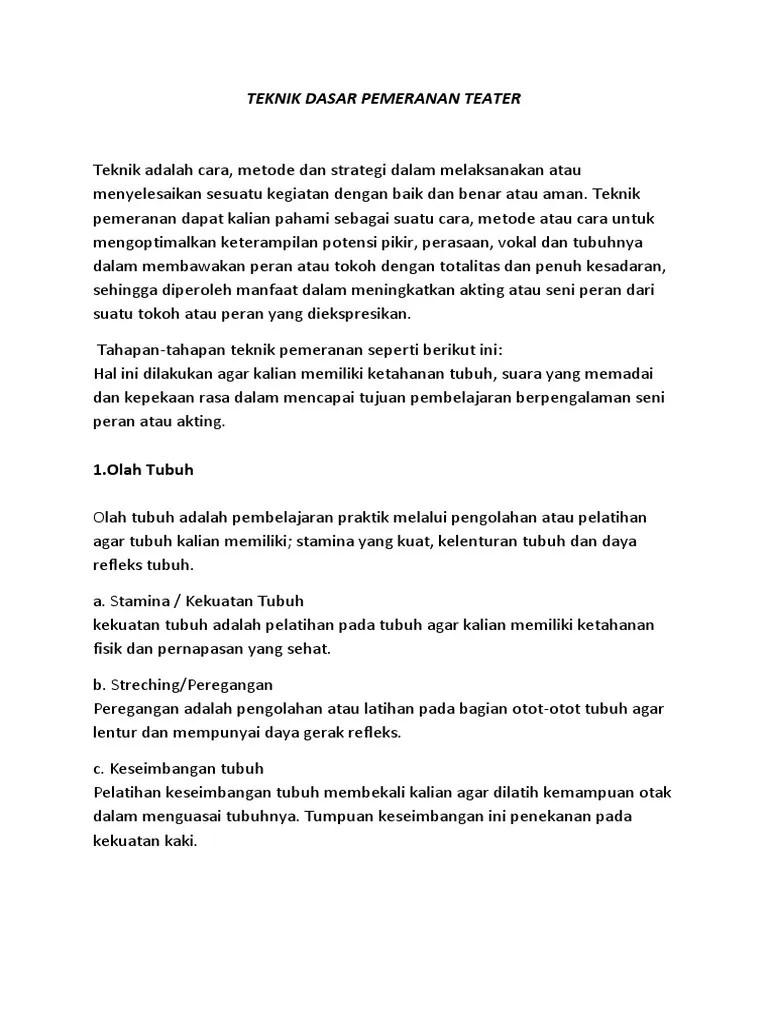 Teknik Pemeranan - kumpulantugaskurikulum2013