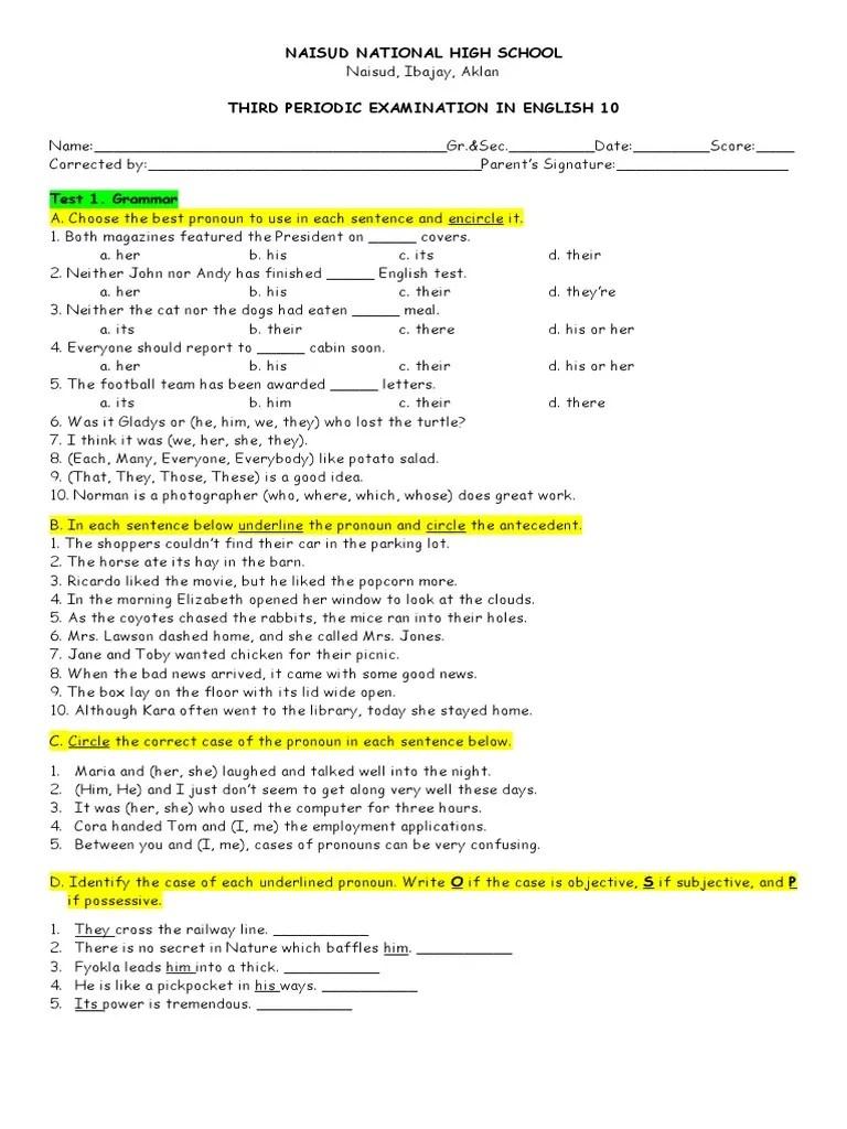 hight resolution of eng. 10   Pronoun   Subject (Grammar)