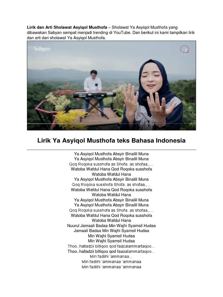 Lirik Ya Asyiqol Sabyan : lirik, asyiqol, sabyan, Lirik_dan_Arti_Sholawat_Ya_Asyiqol_Musth.docx