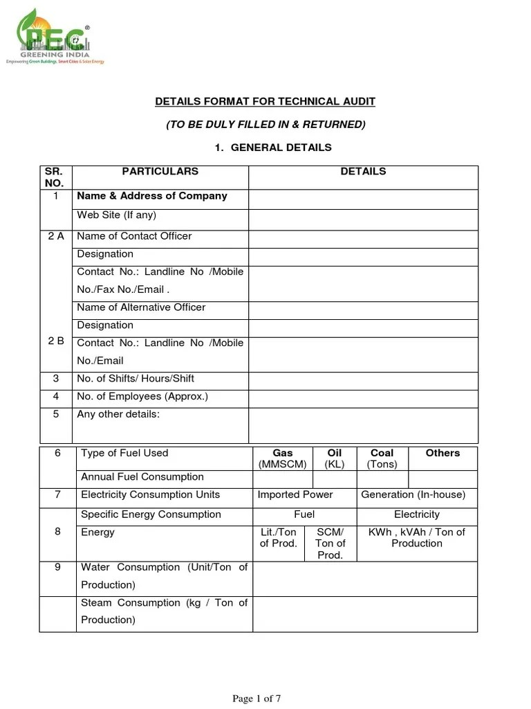 Details Format For Technical Audit: (To Be Duly Filled In & Returned) | Air Conditioning | Electric Power