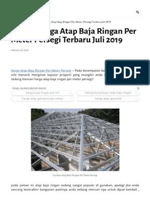 harga baja ringan per meter terbaru daftar atap persegi juli 2019