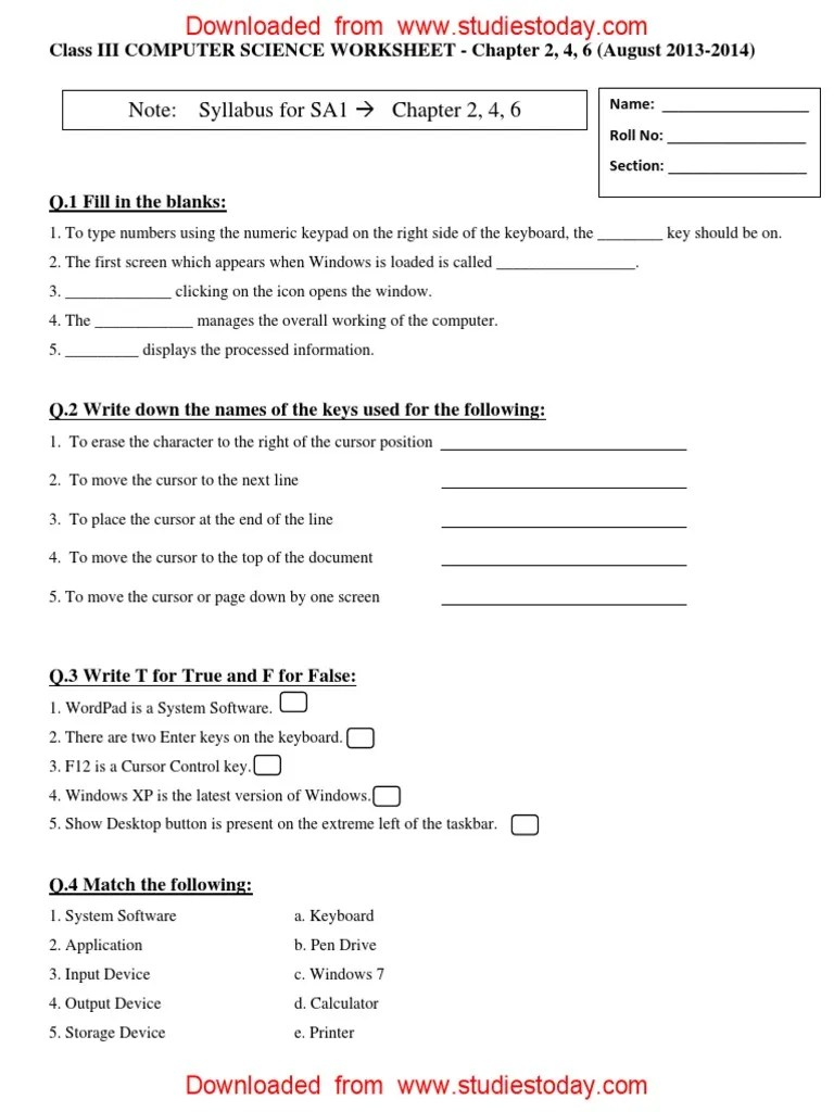 CBSE Class 3 Computer Practice Worksheet (11) - With Answers   Computer  Keyboard   Icon (Computing) [ 1024 x 768 Pixel ]