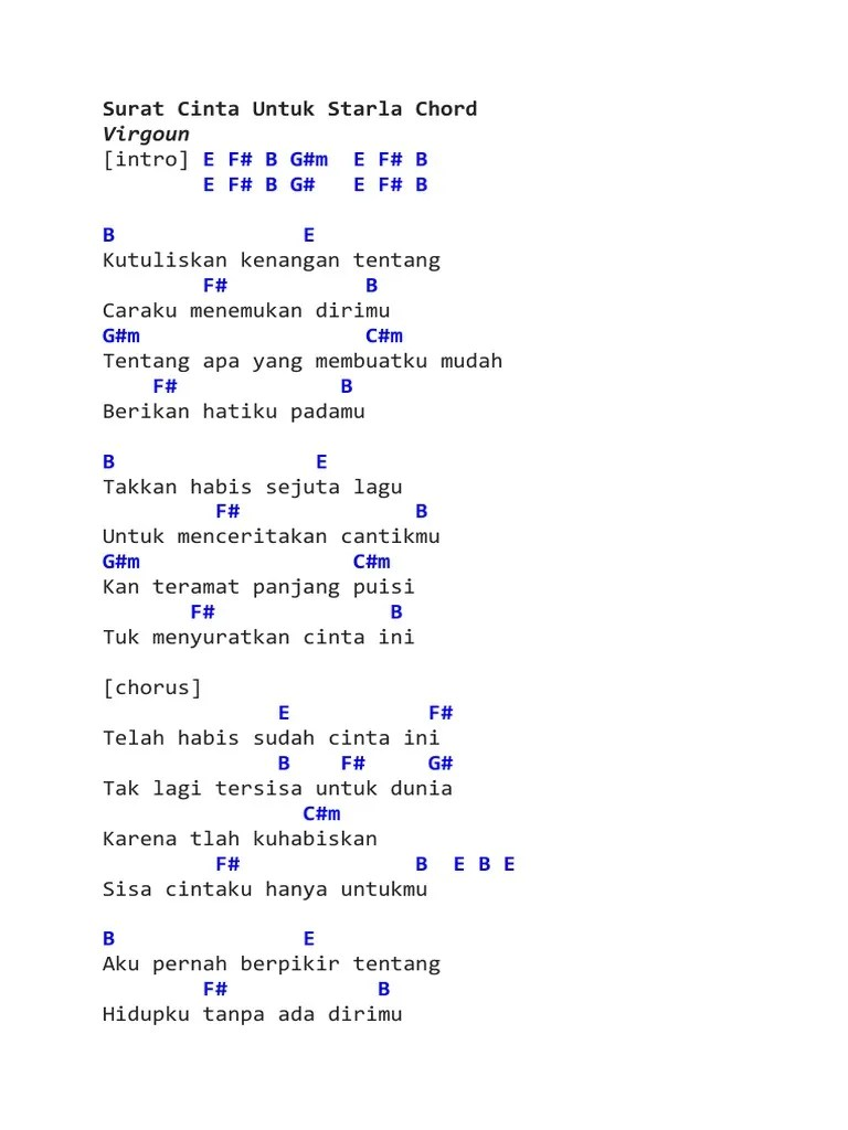 Chord Gitar Surat Cinta Untuk Starla : chord, gitar, surat, cinta, untuk, starla, Surat, Cinta, Untuk, Starla, Chord