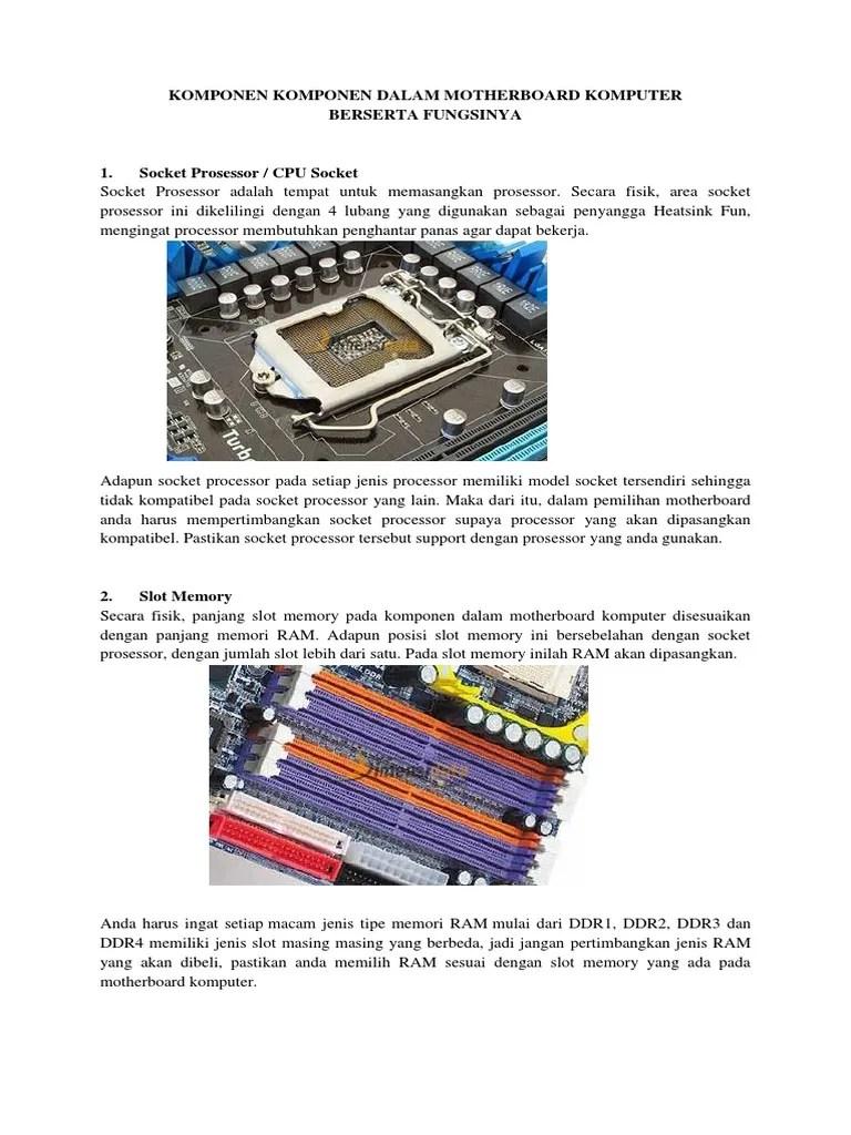 Macam Macam Jenis Ram : macam, jenis, Komponen, Dalam, Motherboard, Komputer, Berserta, Fungsinya