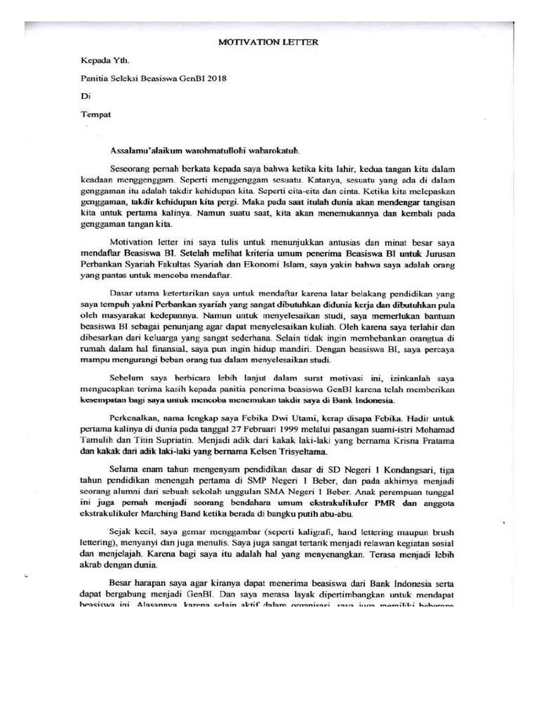 Motivation Letter Indonesia : motivation, letter, indonesia, Motivation, Letter, Bahasa, Indonesia