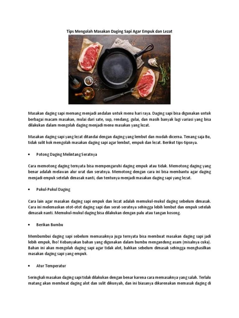 Cara Memasak Daging Supaya Tidak Alot : memasak, daging, supaya, tidak, Mengolah, Masakan, Daging, Empuk, Lezat