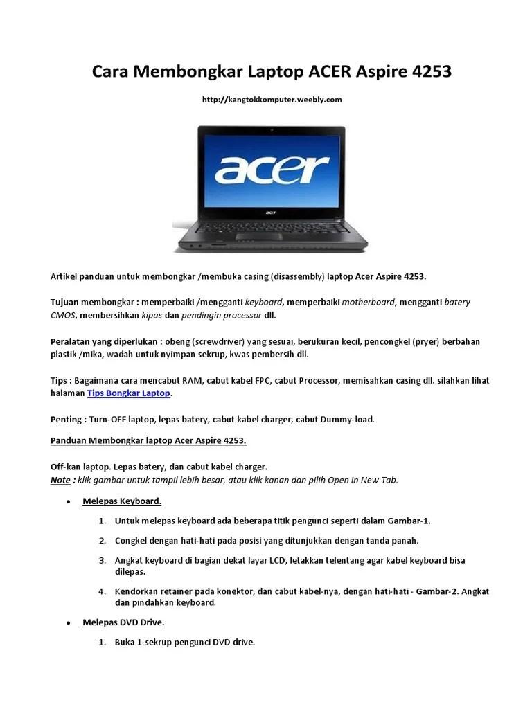 Cara Melepas Keyboard Laptop : melepas, keyboard, laptop, Membongkar, Laptop, Aspire