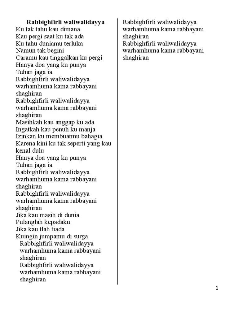 Rabbighfirli Waliwalidayya Lirik : rabbighfirli, waliwalidayya, lirik, Lirik, Lagu.docx