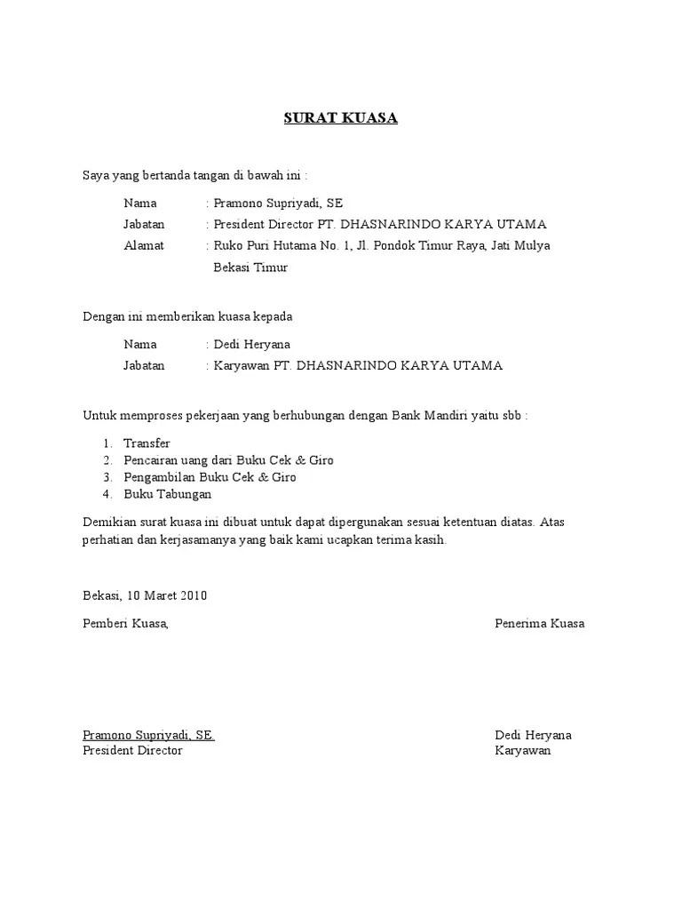 Contoh Surat Kuasa Perwakilan Pengambilan Blt Nusagates