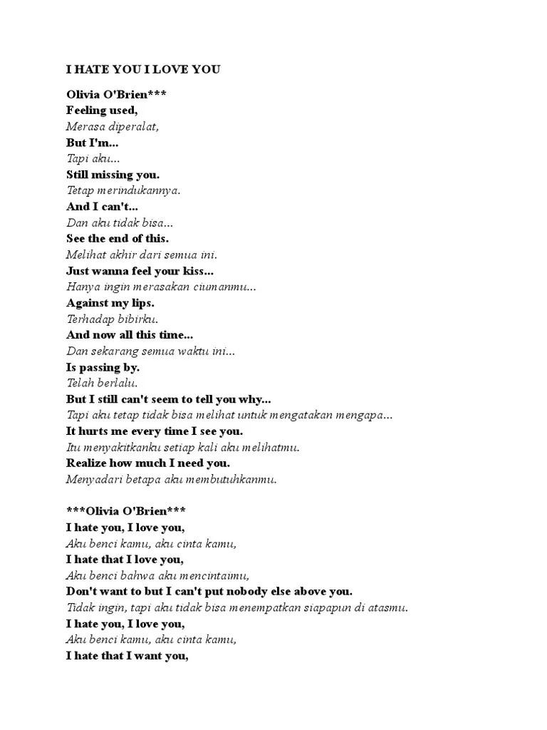 I Hate You I Love You Lirik : lirik, Lirik