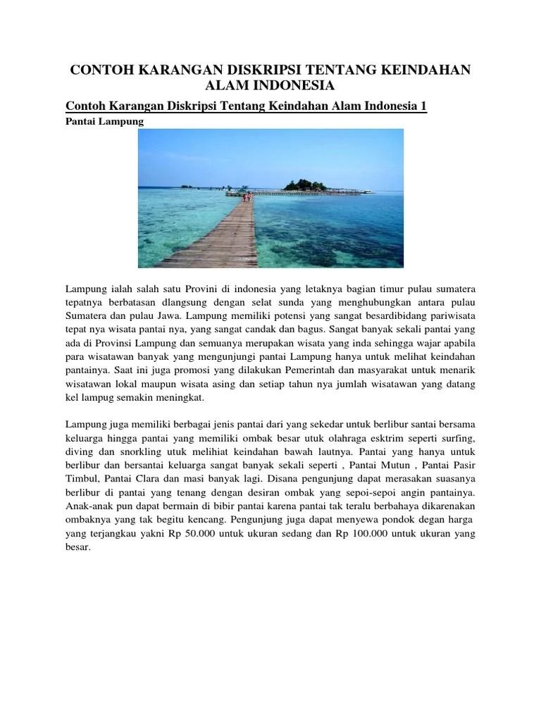 Teks Deskripsi Tentang Alam : deskripsi, tentang, Contoh, Karangan, Diskripsi, Tentang, Keindahan, Indonesia