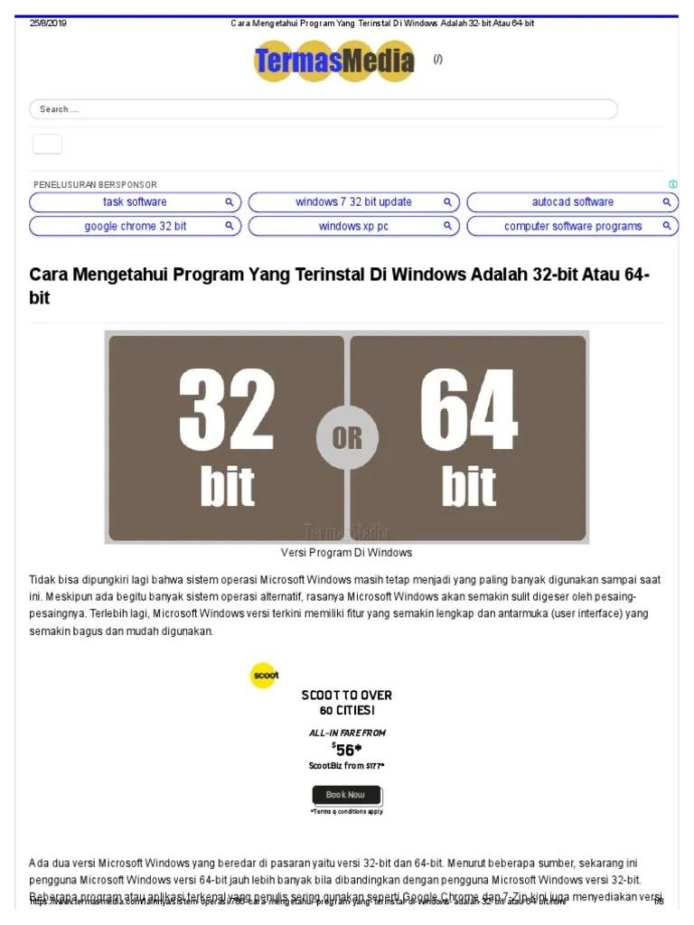 Cara Mengetahui Bit Windows : mengetahui, windows, Mengetahui, Program, Terinstal, Windows, Adalah, 32-Bit, 64-Bit