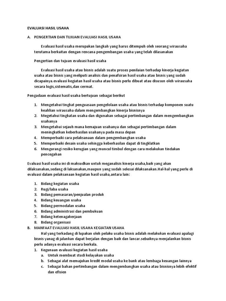 Komponen Evaluasi Hasil Usaha : komponen, evaluasi, hasil, usaha, Evaluasi, Hasil, Usaha